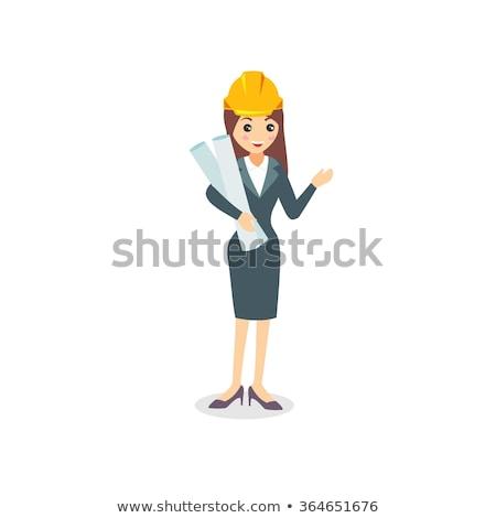 Kadın planlama subay mavi portre gömlek Stok fotoğraf © photography33