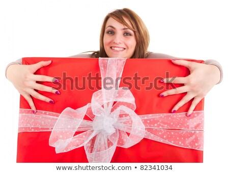 vrouwelijke · handen · groot · geschenkdoos · meisje · winkelen - stockfoto © smithore
