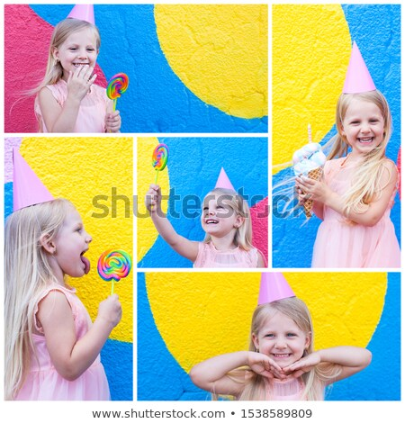 Montage enfants fille bébé fond bleu Photo stock © photography33