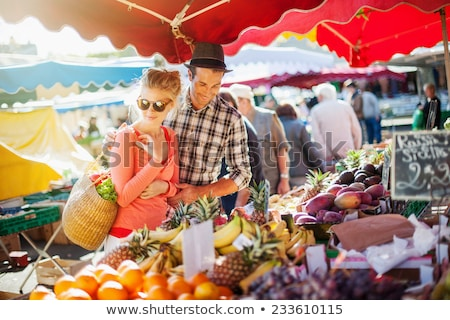 perziken · markt · zachte · focus - stockfoto © erbephoto