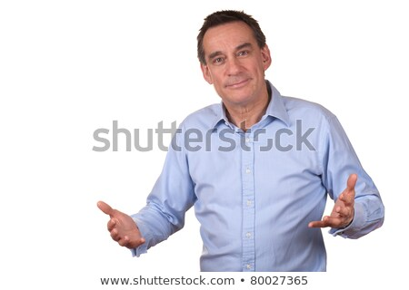Business Man in Blue Shirt with Raised Hands Talking stock photo © scheriton