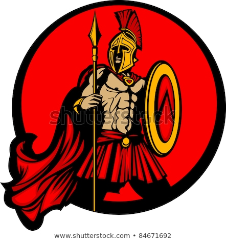 Spartan Trojan Mascot With Spear And Shield Vector Illustration Stock foto © ChromaCo