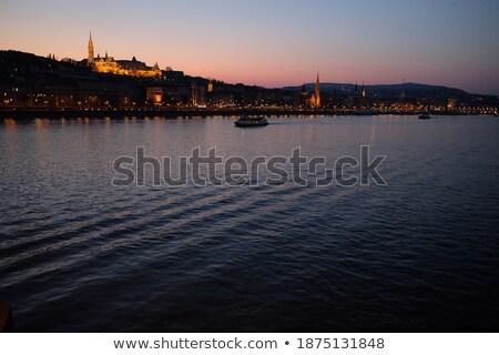 синий вечер берег реки живописный Дунай реке Сток-фото © simply