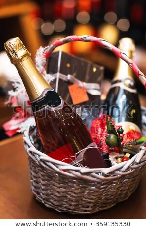 Eski sepet şarap unutulmuş boş şarap şişesi Stok fotoğraf © Kuzeytac