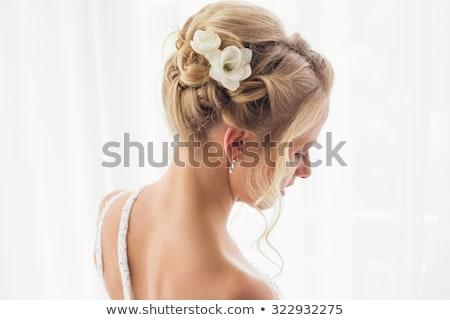 Wedding style. Portrait of gorgeous woman bride - curly hair Stock photo © gromovataya