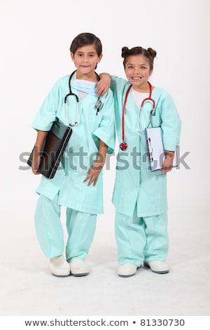 feliz · pai · jogar · médico · quadro · branco - foto stock © photography33