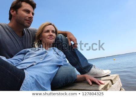 çift adam yaz tatil aşıklar oturma Stok fotoğraf © photography33