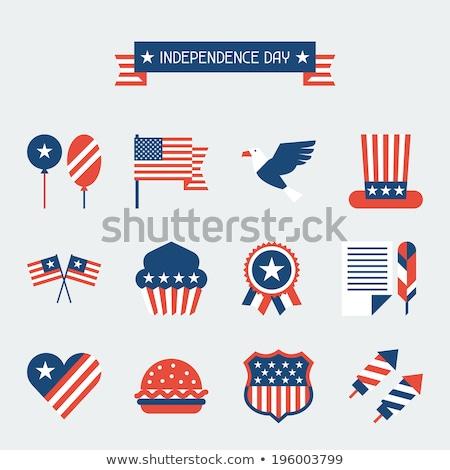 Stockfoto: Rood · ballon · Amerikaanse · vlag · witte · kinderen