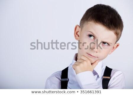 klein · jongen · denken · gelukkig · mode · achtergrond - stockfoto © get4net