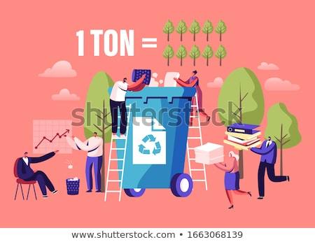 nő · újrahasznosítás · tároló · papír · hírek · csoport - stock fotó © photography33