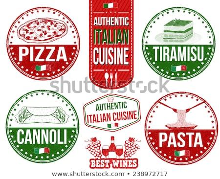 Bağbozumu stil İtalyan mutfağı restoran damga vektör Stok fotoğraf © squarelogo