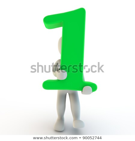 3D Human charcter holding number one stock photo © Giashpee