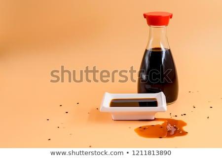 Szójaszósz üveg izolált fehér étel konyha Stock fotó © karandaev