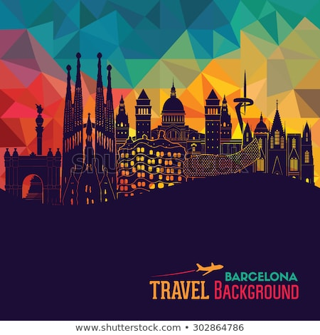 barcelona skyline silhouette with sunset sky stock photo © 5xinc