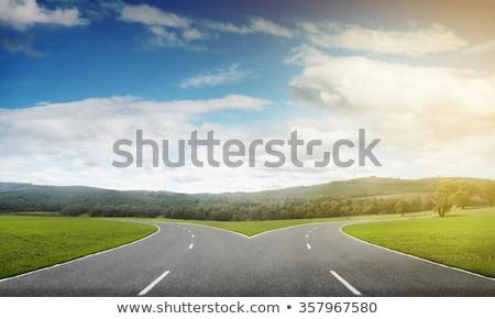 Cross strade orizzonte erba cielo blu Foto d'archivio © Lightsource