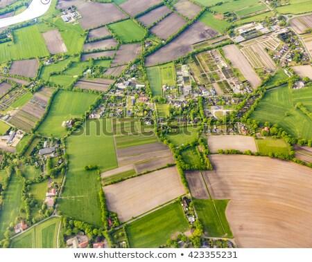 aerial of fields near the river in hamburg Stock photo © meinzahn