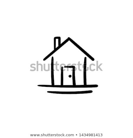 rajz · ház · férfi · kéz · üveg · tábla - stock fotó © matteobragaglio