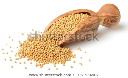 Stockfoto: Geheel · mosterd · zaden · geïsoleerd · witte · voedsel