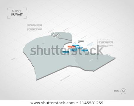 Koeweit kaart zwarte land vlag illustratie Stockfoto © tony4urban
