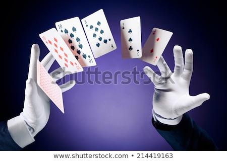 bűvész · mutat · trükk · kártyapakli · mágikus · előadás - stock fotó © photosebia