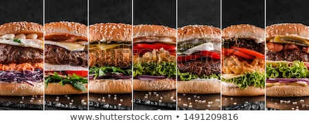 sandwich · hamburger · diner · vlees · ontbijt · salade - stockfoto © Freezingpictures