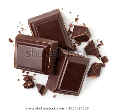 Piezas chocolate oscuro blanco espacio texto Foto stock © tainasohlman