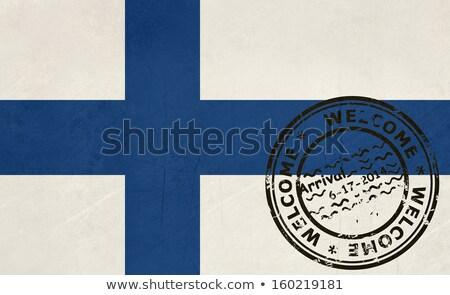Welkom Finland vlag paspoort stempel reizen Stockfoto © speedfighter