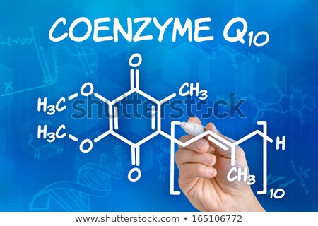 hand with pen drawing the chemical formula of coenzyme q10 stock photo © zerbor