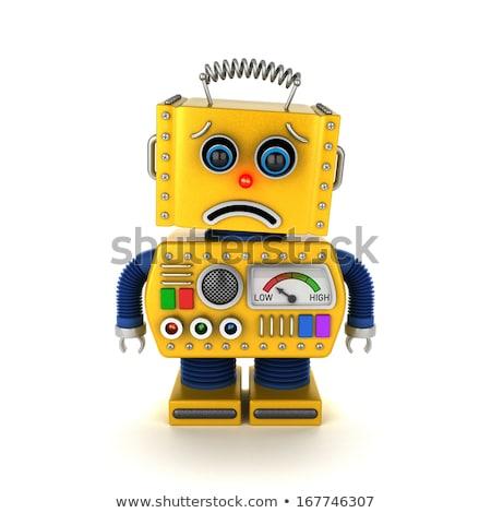 üzücü · robot · oyuncak · yüz · Retro · düşünme - stok fotoğraf © creisinger