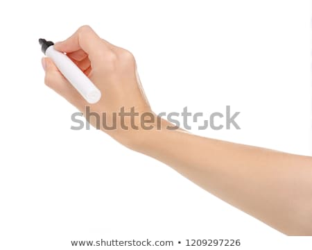 Closeup of a hand writing, on isolated on white background. Stock photo © oly5