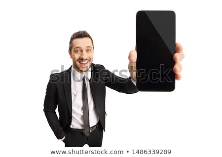 adult businessman with smartphone mobilephone isolated Stock photo © juniart