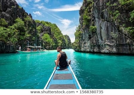 Filipinler tekneler güzel gün batımı görmek geleneksel Stok fotoğraf © joyr