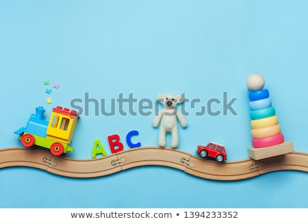деревянная игрушка поездов железная дорога два изолированный белый Сток-фото © gewoldi