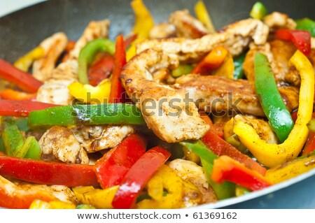 Vegetal frango jantar salada pimenta almoço Foto stock © M-studio
