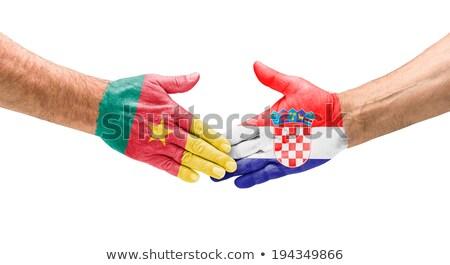 Handshake Kamerun Chorwacja strony spotkanie sportu Zdjęcia stock © Zerbor