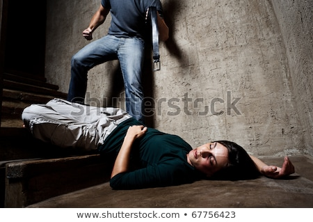 Martwych kobieta piwnica brudne piętrze Zdjęcia stock © rozbyshaka