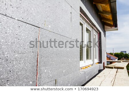 ストックフォト: 建設現場 · 絶縁 · ワーカー · 適用 · 泡 · グルー