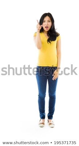 Upset young Asian woman scolding somebody Stock photo © bmonteny