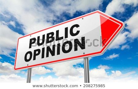 Nyilvános vélemény piros jelzőtábla felirat égbolt Stock fotó © tashatuvango
