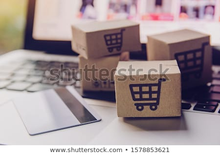 donna · shopping · online · seduta · piano - foto d'archivio © ambro