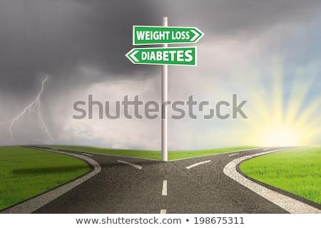 диабет · предупреждение · иллюстрация · красный · белый - Сток-фото © tashatuvango