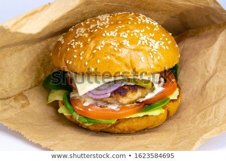 close up of diner style burger stock photo © elvinstar