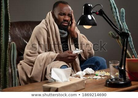 男 ひどい インフルエンザ 画像 水 紙 ストックフォト © cteconsulting