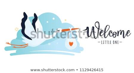 плакат аистов ребенка градиент семьи Сток-фото © adamson