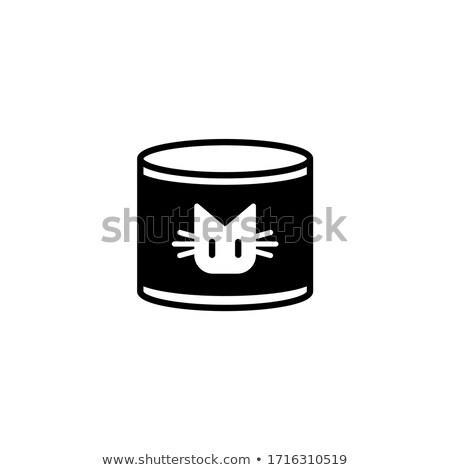 Gato preto ícone prato cara projeto teia Foto stock © aliaksandra