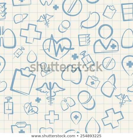 medical seamless pattern on white squared paper sheet stock photo © voysla