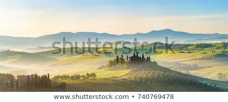 Stok fotoğraf: İtalyan · manzara · köy · dağlar · gün · batımı · İtalya