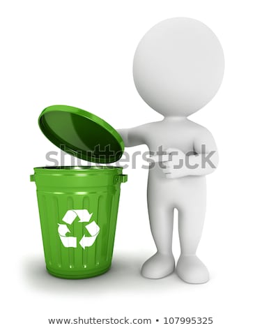 3d White People Recycle Trash Can ストックフォト © 3dmask