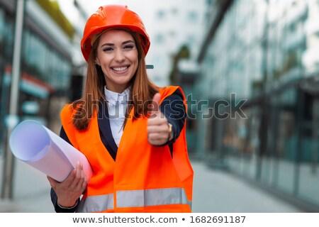 építkezés · mérnök · gesztikulál · remek · jóváhagyás · visel - stock fotó © stevanovicigor
