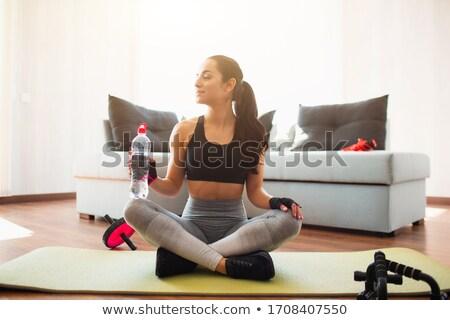 Sportos fiatal nő abdominális sport egészség háttér Stock fotó © deandrobot